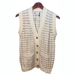 Smith's Bermuda Beige Off White Wool Vest Size S